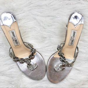 Jimmy Choo Silver Metallic Disc Sandal Heels